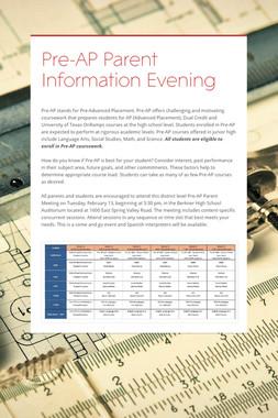 Pre-AP Parent Information Evening