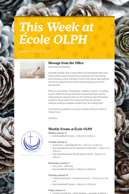 This Week at École OLPH