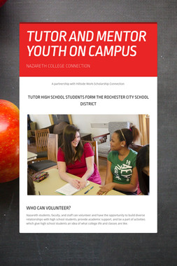 TUTOR AND MENTOR YOUTH ON CAMPUS