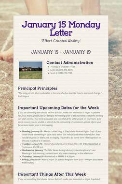 January 15 Monday Letter