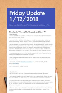 Friday Update 1/12/2018