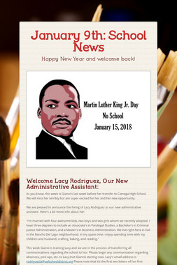 January 9th: School News