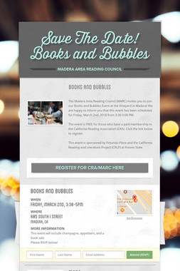 Save The Date! Books and Bubbles