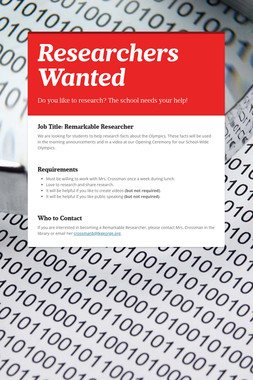 Researchers Wanted