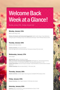 Welcome Back Week at a Glance!