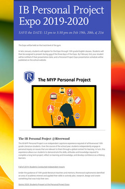 The Personal Project Expo 2018-2019