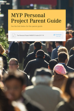 MYP Personal Project Parent Guide