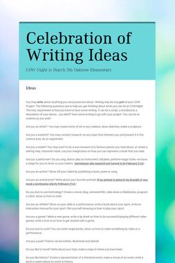 Celebration of Writing Ideas