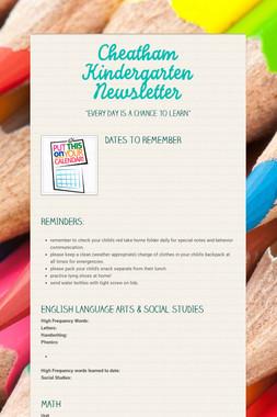Cheatham Kindergarten Newsletter