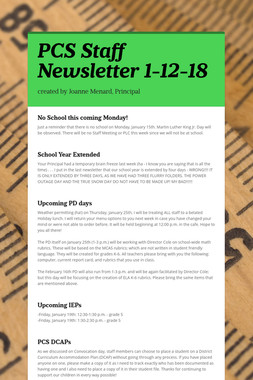 PCS Staff Newsletter 1-12-18