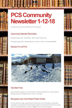 PCS Community Newsletter 1-12-18