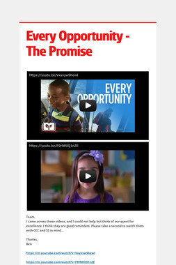 Every Opportunity - The Promise