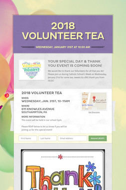 2018 Volunteer Tea