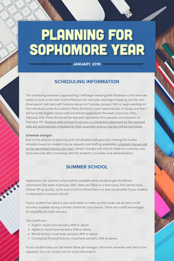 Planning for Sophomore Year