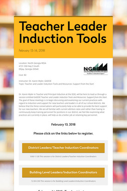 Teacher Leader Induction Tools