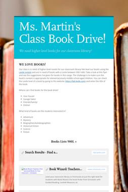 Ms. Martin's Class Book Drive!