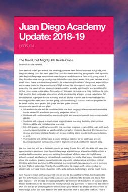 Juan Diego Academy Update: 2018-19
