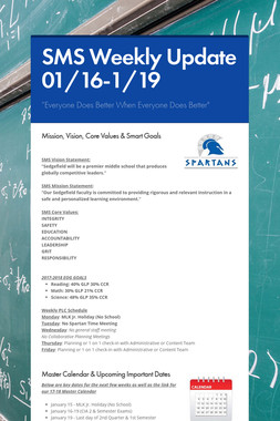 SMS Weekly Update 01/16-1/19