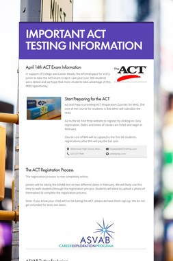 IMPORTANT ACT TESTING INFORMATION