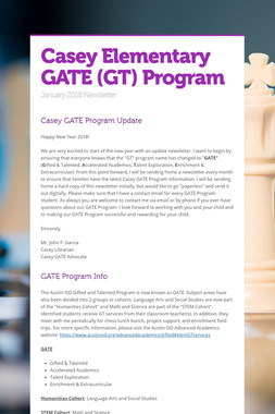 Casey Elementary GATE (GT) Program