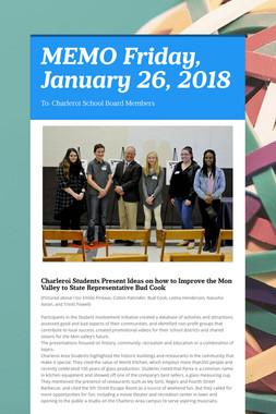 MEMO    Friday, January 26, 2018