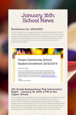 January 16th: School News