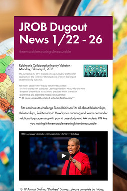 JROB Dugout News 1/22 - 26