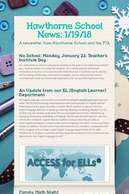Hawthorne School News: 1/19/18