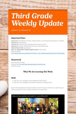 Third Grade Weekly Update
