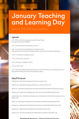 January Teaching and Learning Day