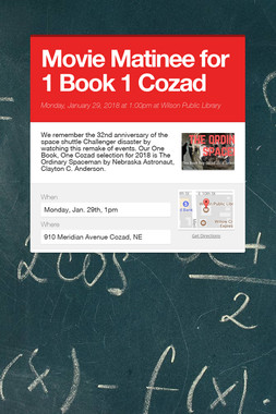 Movie Matinee for 1 Book 1 Cozad