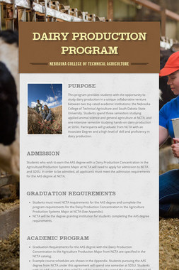 Dairy Production Program