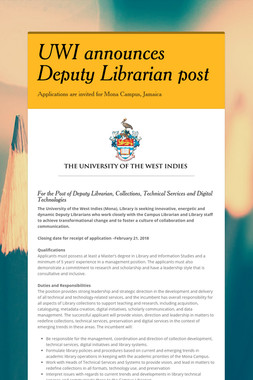 UWI announces Deputy Librarian post