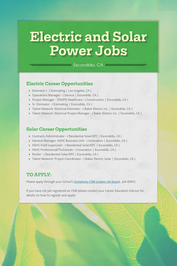Electric and Solar Power Jobs