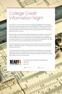 College Credit Information Night