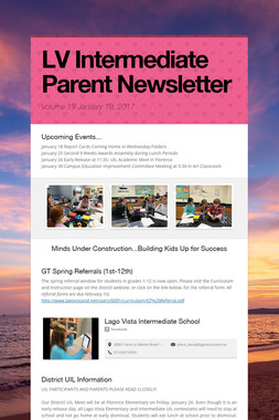 LV Intermediate Parent Newsletter
