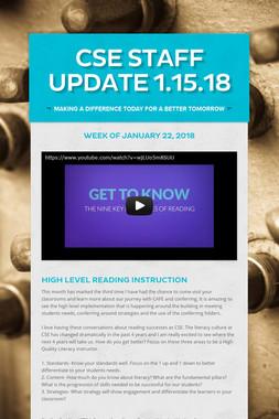 CSE STAFF UPDATE 1.15.18