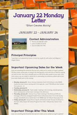 January 22 Monday Letter