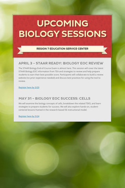 Upcoming Biology Sessions