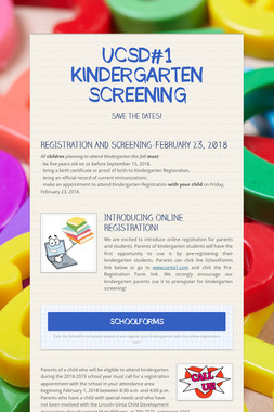 UCSD#1 KINDERGARTEN SCREENING