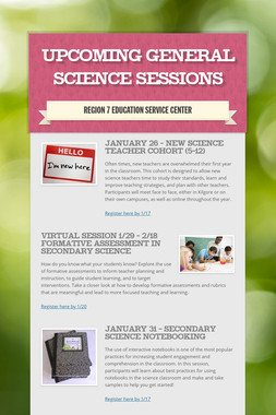 Upcoming General Science Sessions