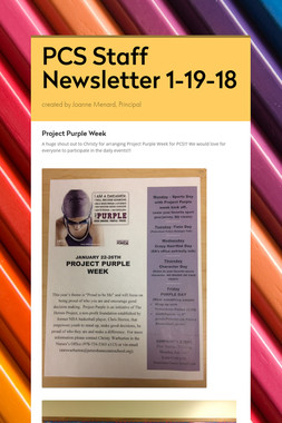 PCS Staff Newsletter 1-19-18