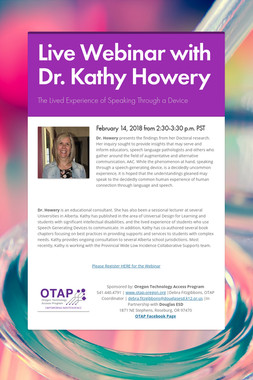 Live Webinar with Dr. Kathy Howery