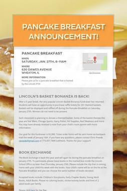 Pancake Breakfast Announcement!