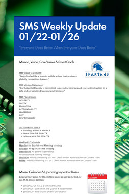 SMS Weekly Update 01/22-01/26