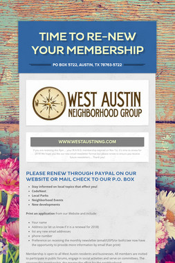 Time to Re-New your Membership