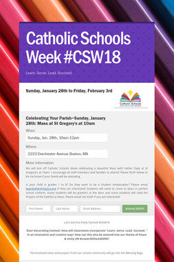 Catholic Schools Week #CSW18