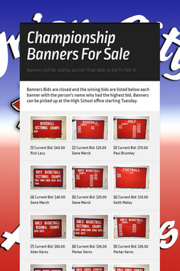 Championship Banners For Sale