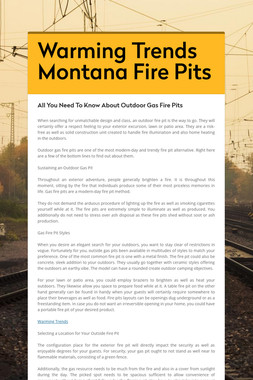Warming Trends Montana Fire Pits