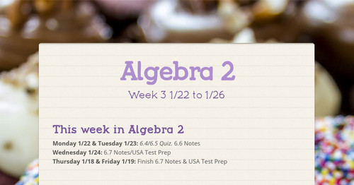 Algebra 2 | Smore Newsletters for Education